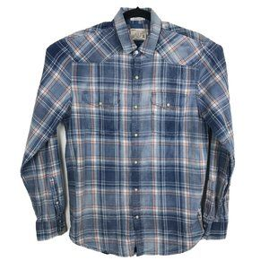Lucky Brand Western Shirt Blue Plaid Pearl Snap S